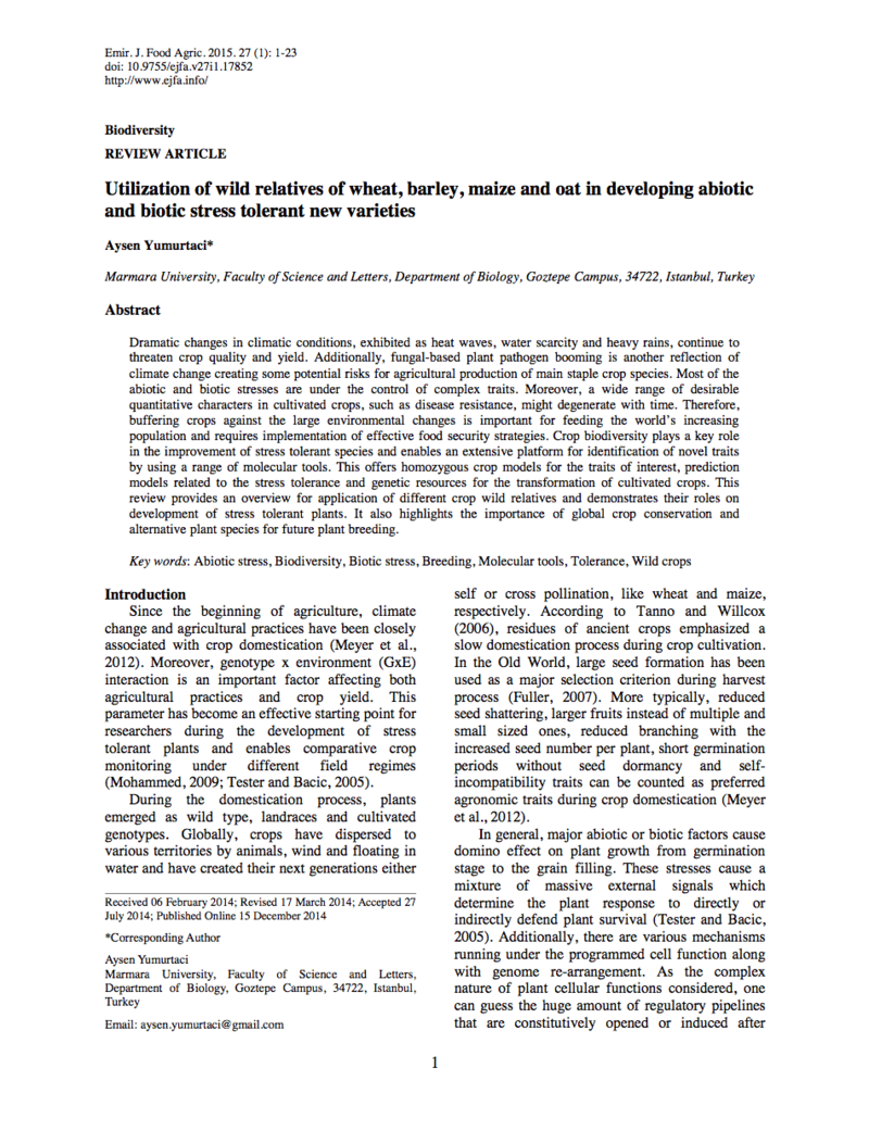 Crop Wild Relatives: Utilization of wild relatives of wheat, barley, maize  and oat in developing abiotic and biotic stress tolerant new varieties